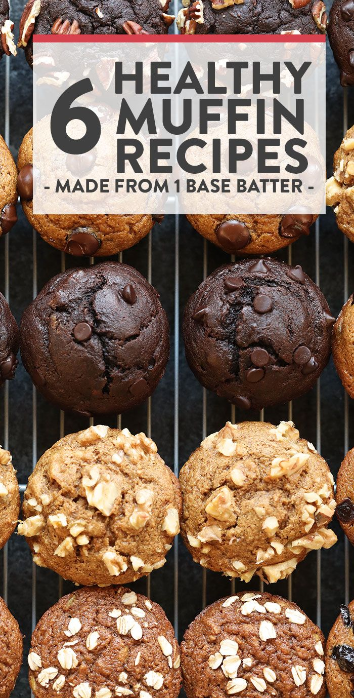 6 Healthy Muffin Recipes (1 Base Batter) - Fit Foodie Finds