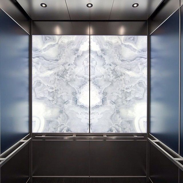 Love This Levele Elevator Interior With Lightplane Panels In Vivistone Pearl Onyx Glass