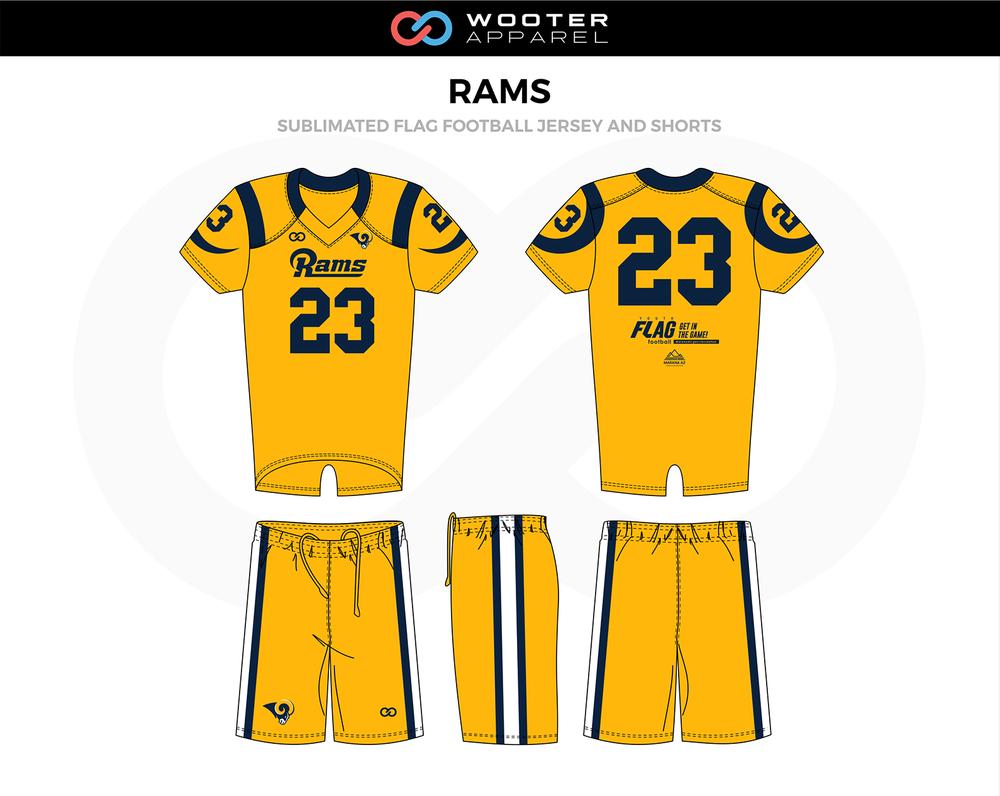 Rams Flag Football Uniforms Jerseys And Shorts Flag Football Football Custom Sportswear