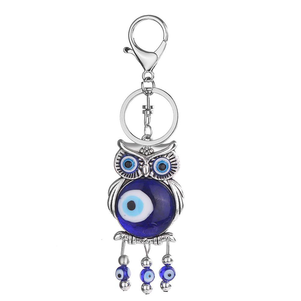 Fashion Blue Eyes Cute Owl Beads Tassel Charm Keychain Car Key Chain Ring Keyring Gifts