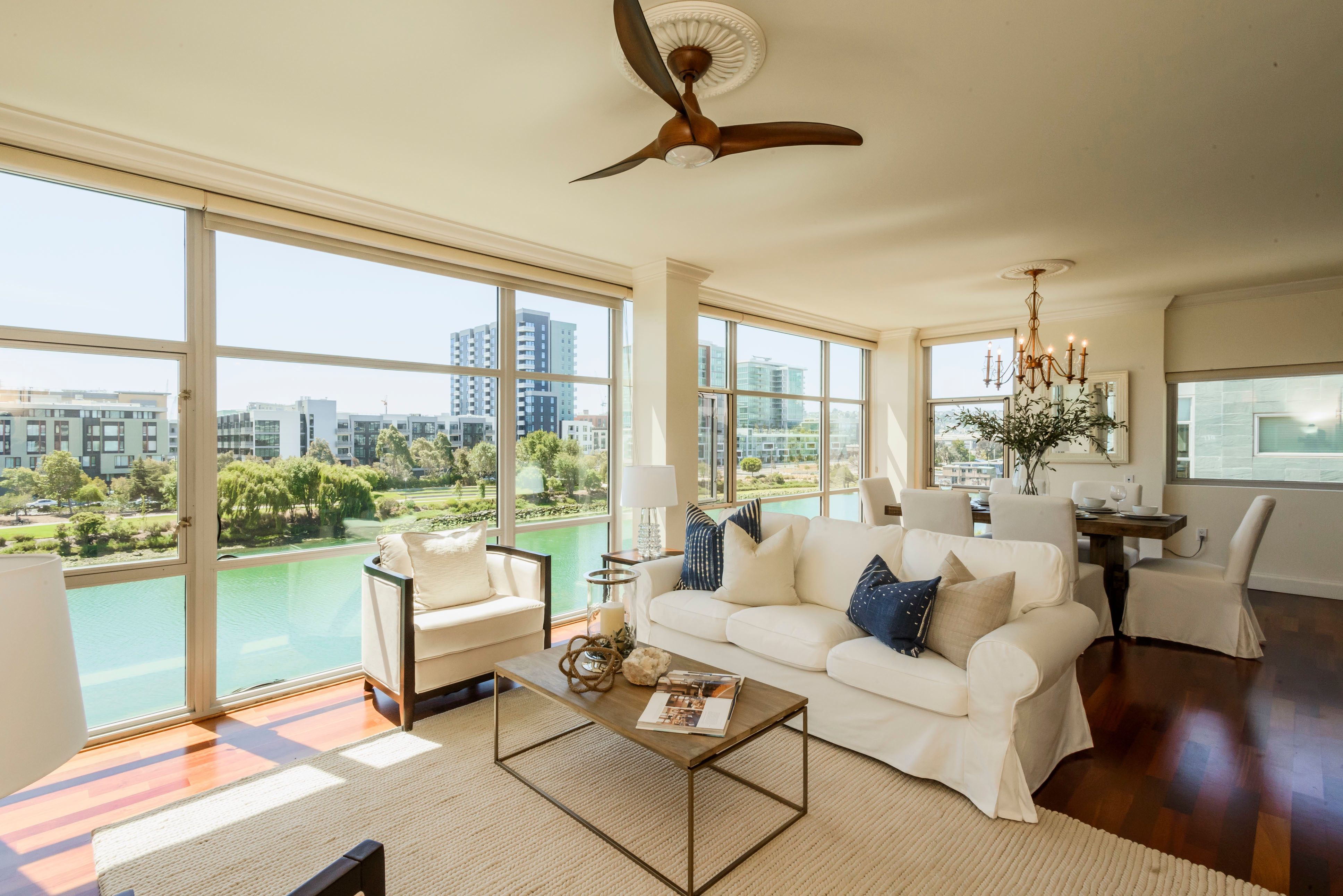 This spacious mission bay unit has everything water views two bedrooms and outdoor