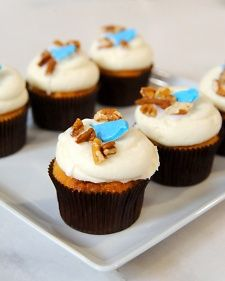 In this mini version from Georgetown Cupcake founders, Katherine Kallinis and Sophie LaMontagne, cupcakes baked with banana, pineapple, and pecan are topped with classic vanilla cream cheese frosting.