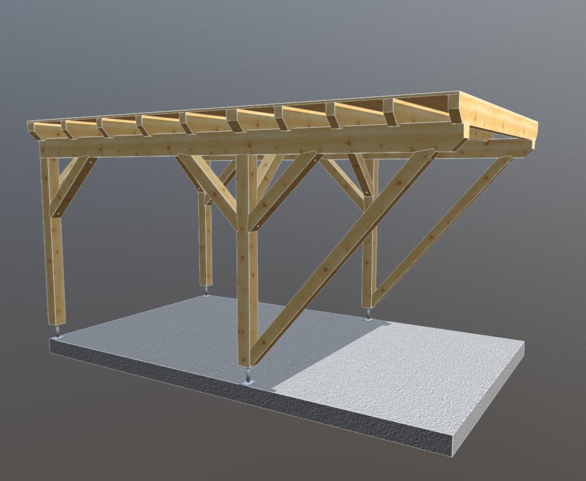 Holz Carport 3m x 5m flachdach, carports aus polen