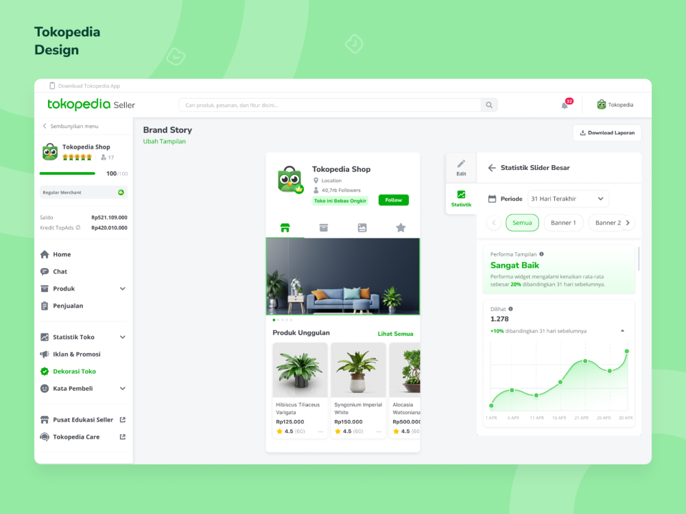 tokopedia shop page analytic by randy varianda for tokopedia on dribbble in 2020 shopping dribbble tokopedia shop page analytic by randy