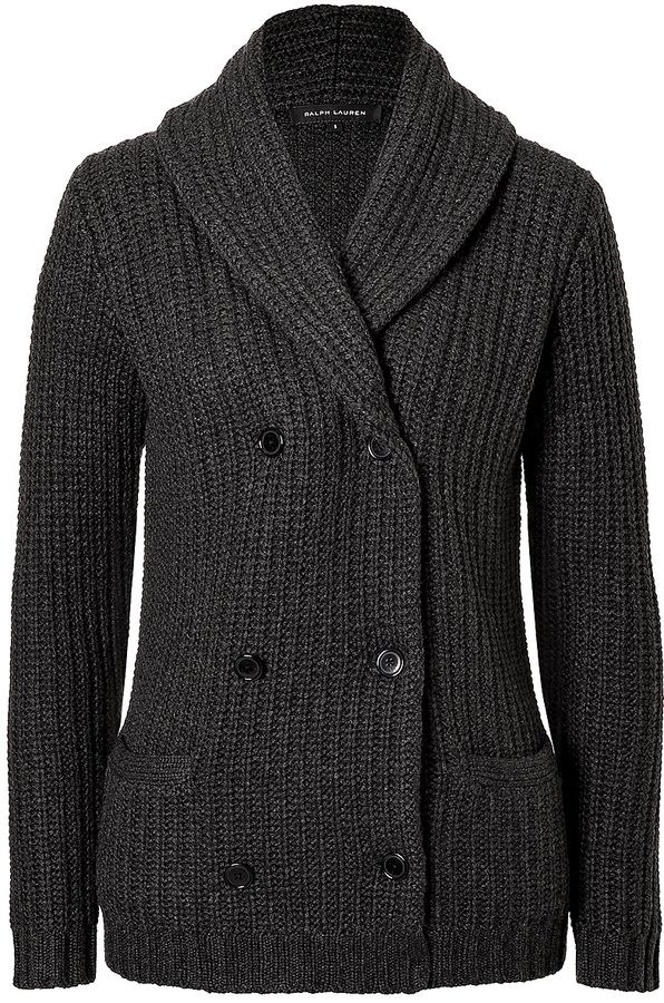 c282441f72 Ralph Lauren Black Label Heavy Knit Cashmere Cardigan with Leather Elbow  Patches on shopstyle.com
