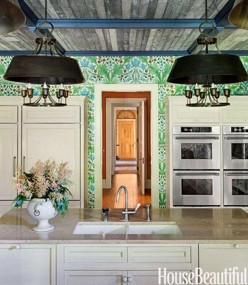Lush Wallpaper In A Kitchen Kitchen Wallpaper House Beautiful Magazine Kitchen Wall Oven Beautiful wallpaper house photo