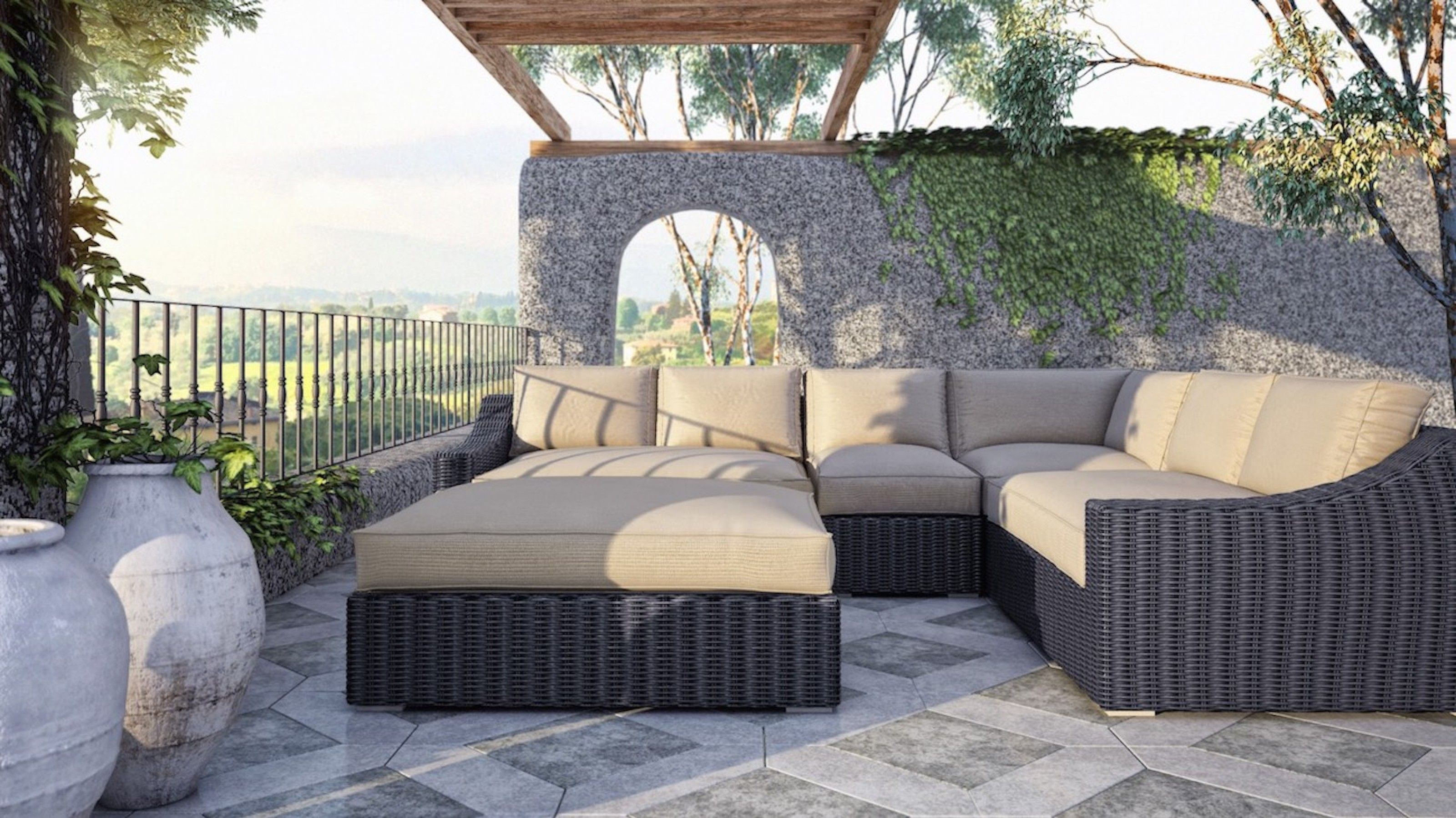 Tuscan Sectional Set 3 200 Includes Left Arm Middle Corner Right Arm And Ottoman All Cushions Made With Sunbrella Fabric Sectional Outdoor Deep Seating