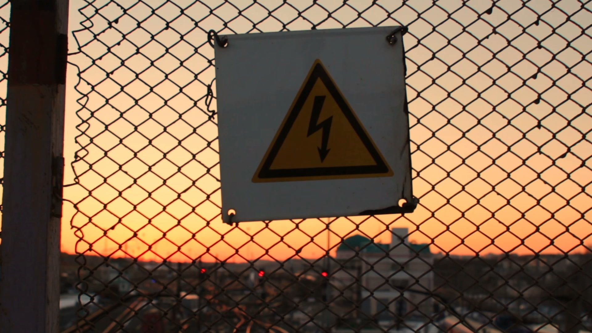 High Voltage Danger Sign On A Lattice Over Railway Yard Station Warning Stock Footage Sign Lattice Danger High High Voltage Lattice Danger Sign