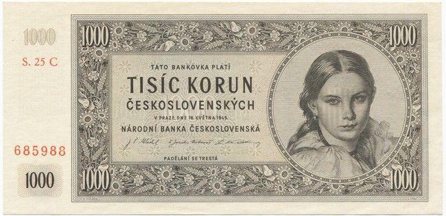 1000 Korún ceskoslovenských 1945 (Mädchenportrait)