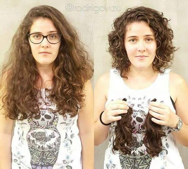Transformation de cheveux long au coupe courte Vos