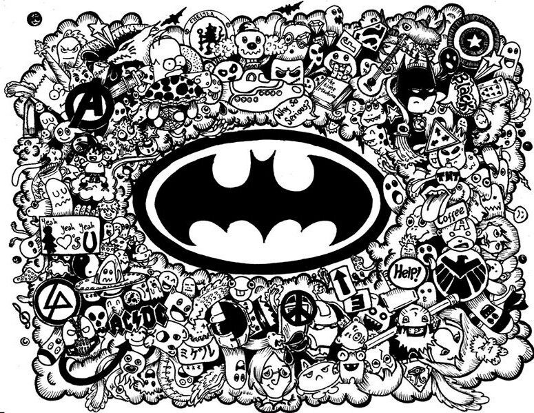 Batmandoodle Batman Pinterest Batman Doodles And Adult Coloring
