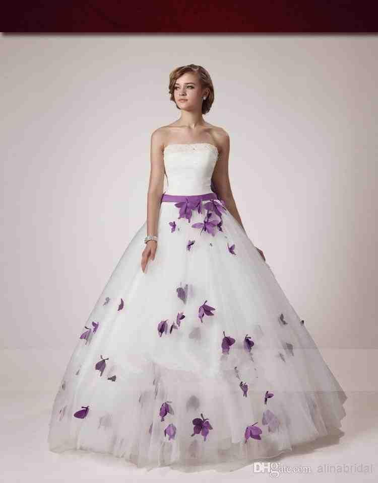 White And Purple Wedding Dress Purple Wedding Dress White Strapless Wedding Dress Ball Gowns Wedding