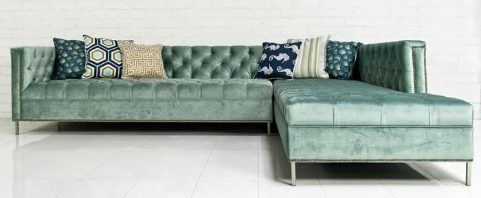 Hollywood Sectional in Brussels Aqua Velvet by ModShop : velvet sectional - Sectionals, Sofas & Couches
