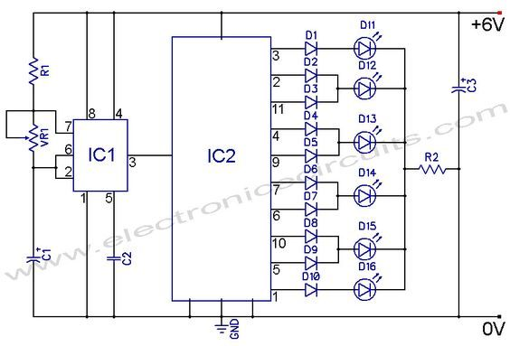 led knight rider circuit diagram using 4017 and 555 ic s rh pinterest com clap switch circuit diagram 4017 circuit diagram of 4017 ic