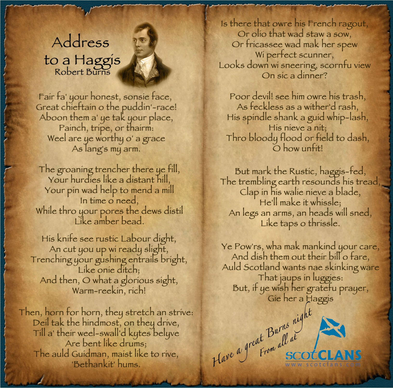 Address To A Haggis Robert Burns In 2020 Scottish Poems