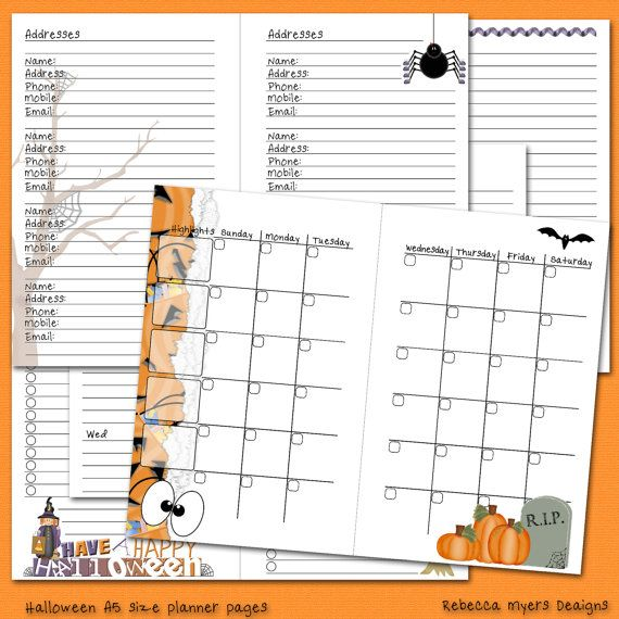Halloween Filofax Franklin Covey A5 Printable Planner Pages