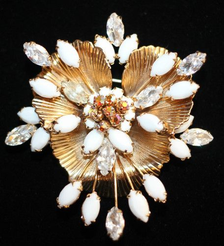 HOBE Signed White Milk Glass & AB Rhinestone Floral Brooch