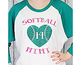 """""""Love My Player"""" 3/4 Sleeve Raglan Tee #BB453 *Choose Your Text and Colors"""