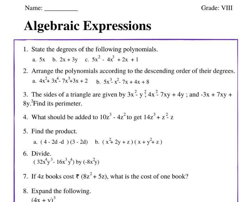 Algebraic Expressions For Class 8 Algebraic Expressions Class 8 Polynomials