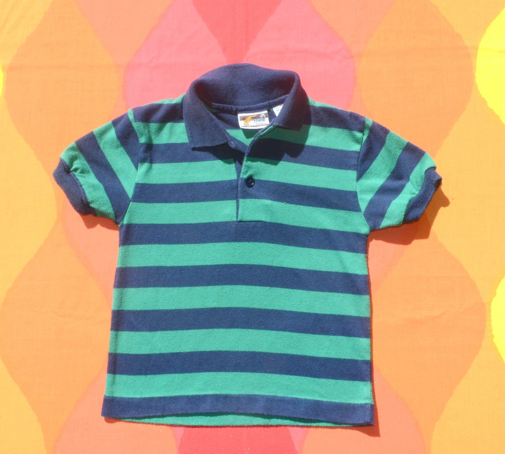 01c9c0b92 vintage 80s kids golf shirt STRIPES polo green blue rugby children Small 6 5