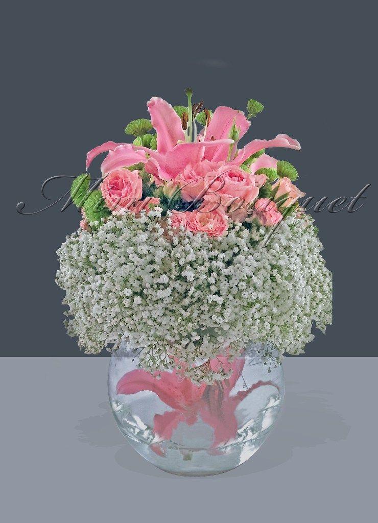 Dekoratif çiçek _ Lilyum ve Pembe Güller