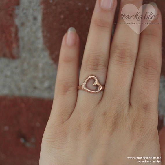 Love Ring Heart Ring Open Heart Ring Rose Gold Heart Ring