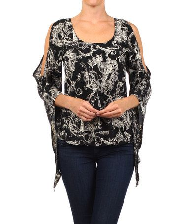 Another great find on #zulily! Black & Beige Abstract Cutout Top - Women by Karen T. Design #zulilyfinds