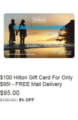 $100 Hilton Gift Card For Only $95! - FREE Mail Delivery | Gift ...