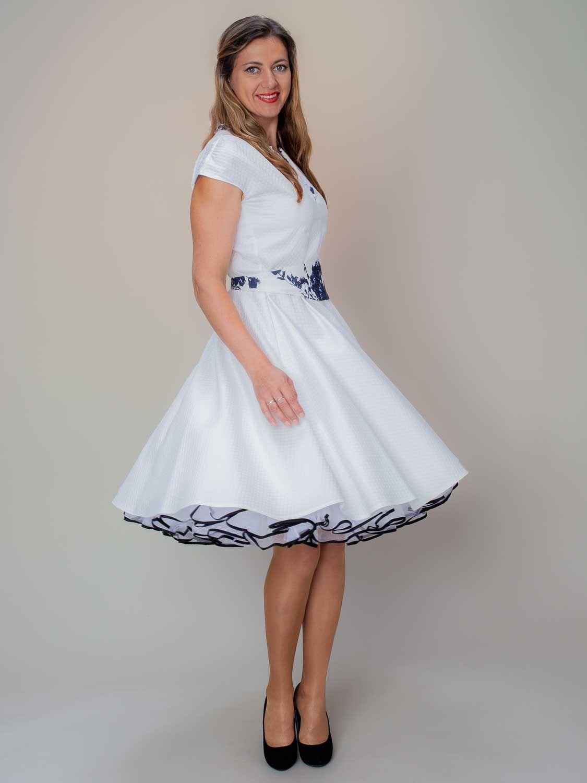 petticoat kleid weiss blau | kleider, rockabilly kleider