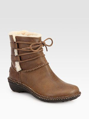 434376490be UGG Australia Caspia Leather & Shearling Lace-Up Ankle Boots | Shoes ...