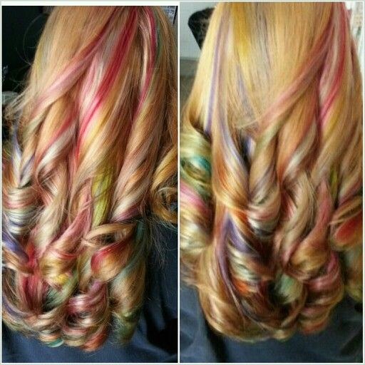 rainbow highlights hair color