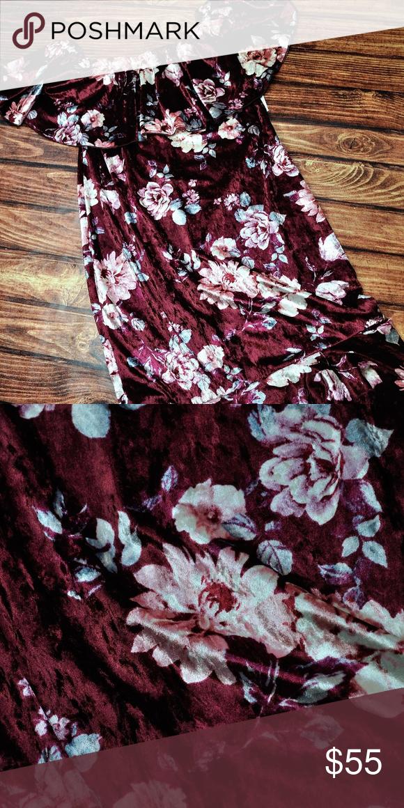 8b3bc1c606675f LuLaRoe Cici Dress Medium Gorgeous velvet burgundy floral LuLaRoe Dresses  Strapless
