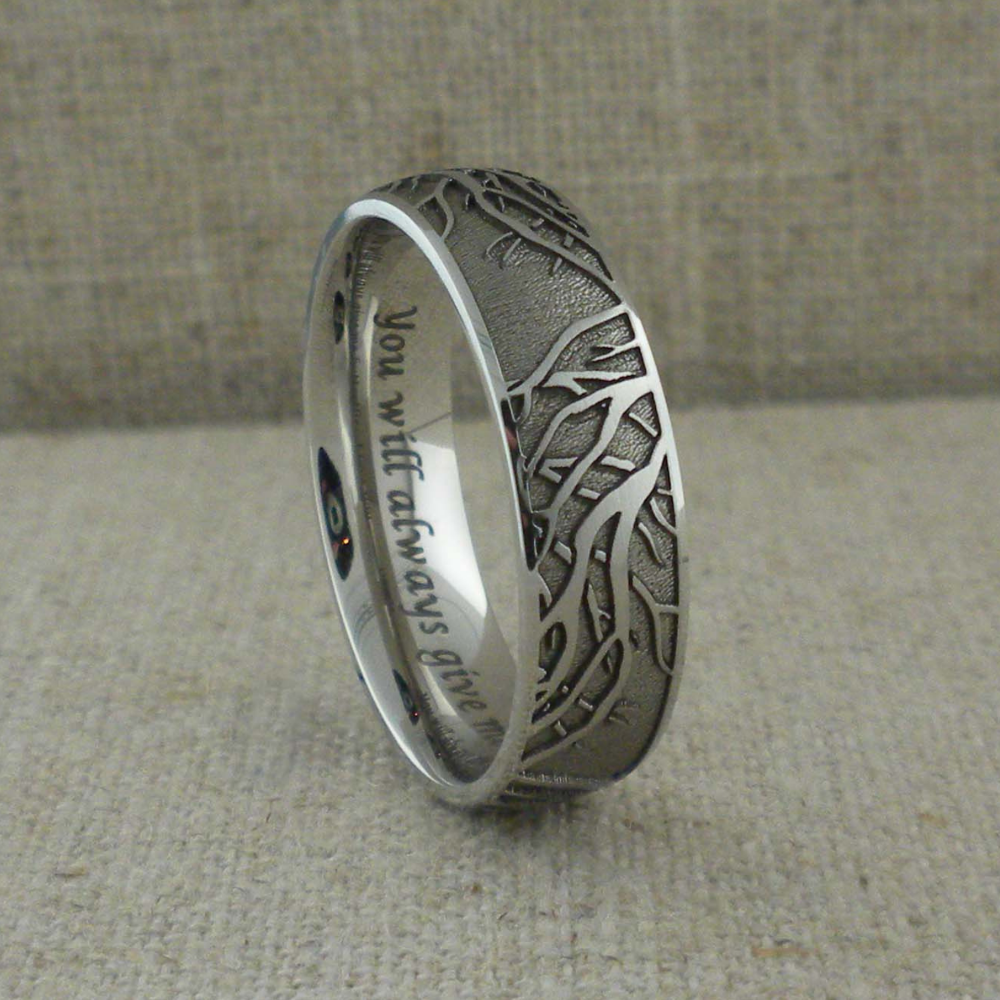 Titanium Wedding Ring With Tree Of Life Branches Unique Titanium Wedding Rings Rose Gold Engagement Ring Vintage Celtic Wedding Rings Rose Gold Oval Engagement Ring