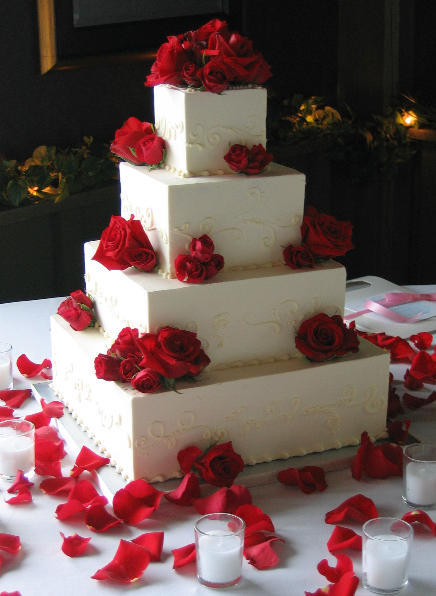 Perfect Magpies Bakery Knoxville, TN Square Buttercream Wedding Cake Adorned With  Fresh Red Roses. #