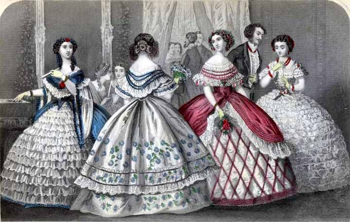 """Godey's December 1859  """"Fashionable Party"""""""