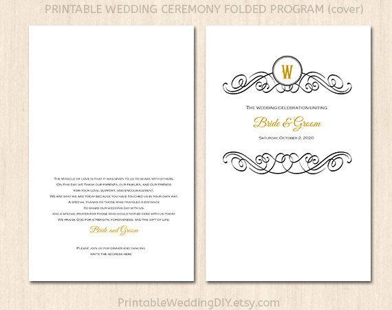 Printable black folded wedding program template Editable program - booklet template word