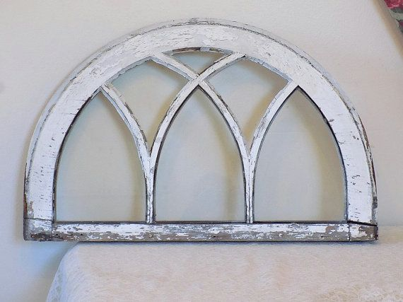 Small Antique Lead Glass Arch Window Vintage Shabby Chic Chippy