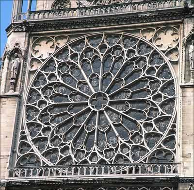 Notre Dame Rose Glass Outline