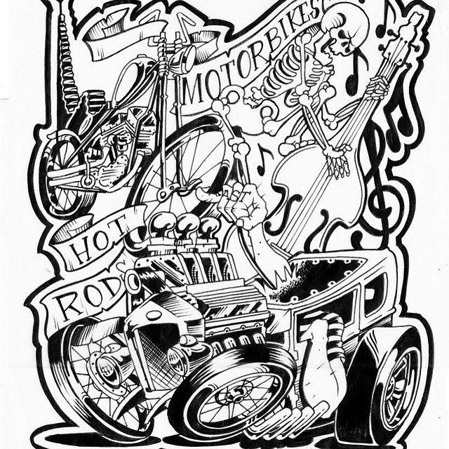 car garage coloring pages | hot rod cartoon images - Google Search | Cartoon art ...