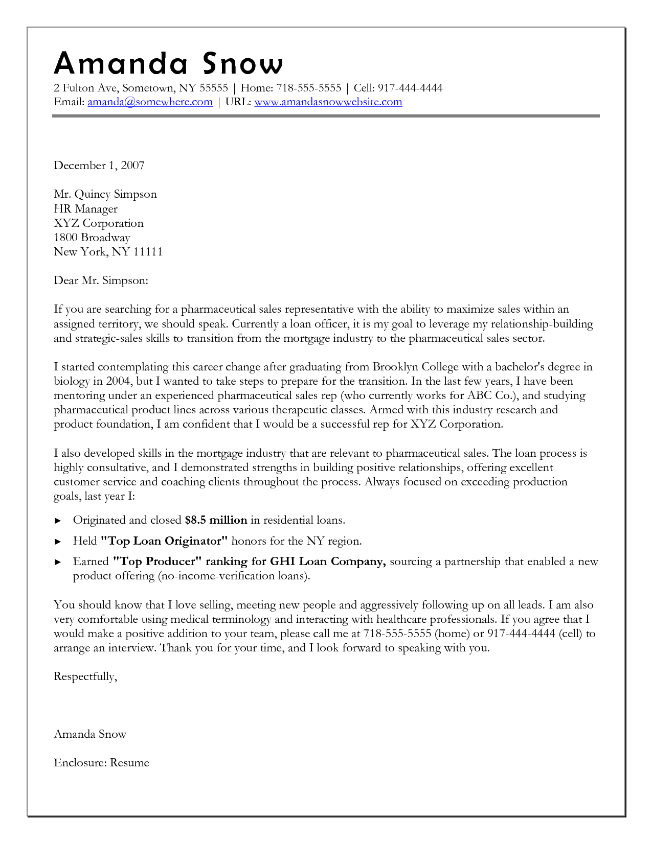 Cover Letter Template When Changing Careers Cover letter