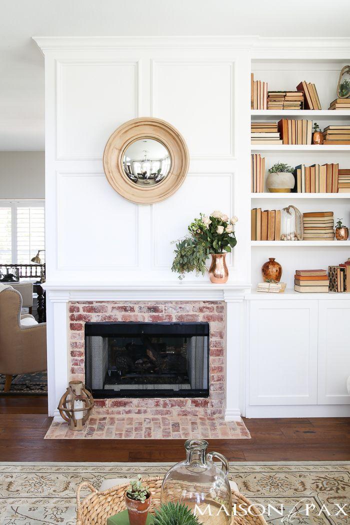 Antique Brick and White Molding Fireplace Makeover Elegant living