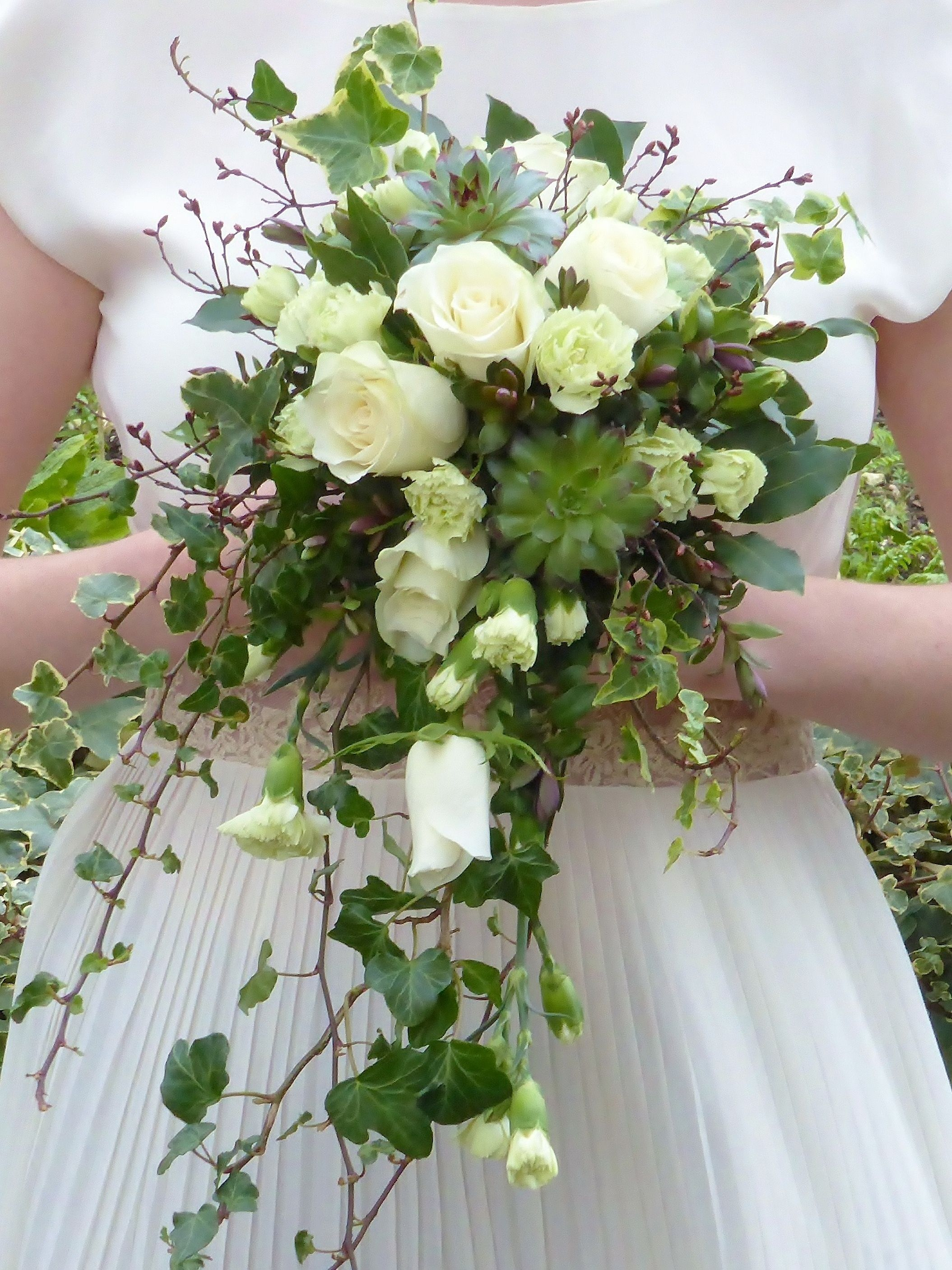 Rustic Ivory Shower Bouquet With Succulents White Ivory Cream