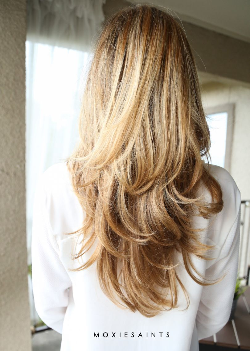 Long layers Sombre with faded ombre Perfect long layered cut and