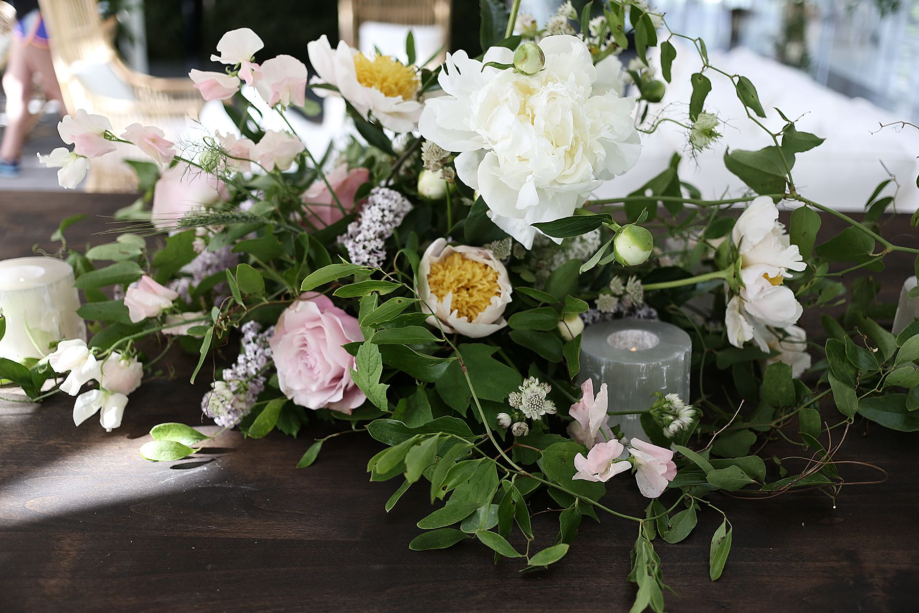 Bursting peonies, wild flowers, and touches of Lilac for this destination Aspen wedding. The Aspen Art Museum was the perfect back drop for our flowers.