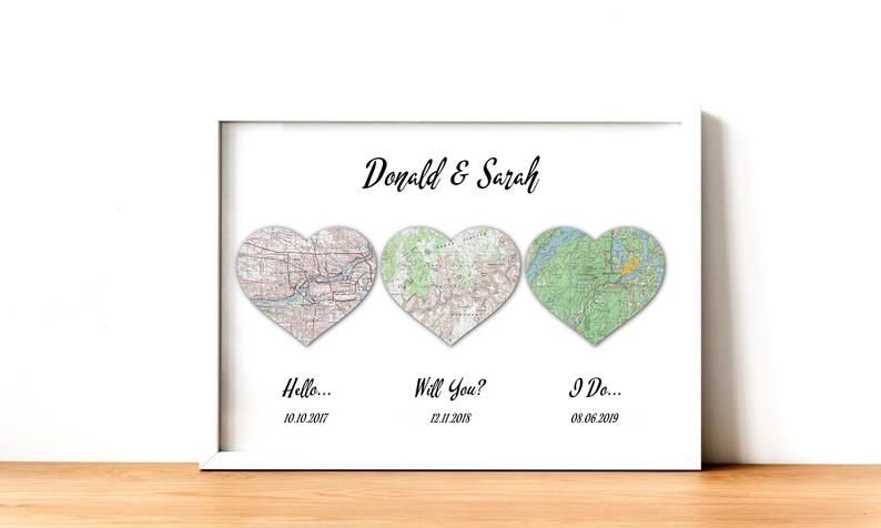 Hello Will You I Do Art Print Map Heart 1st Anniversary Etsy In 2020 First Anniversary Gifts Wedding Gift Art Anniversary Gifts