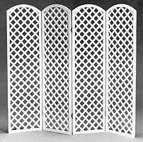 Arched Top Lattice Room Divider 4 Panel Hinged Accordian Style Folds Flat