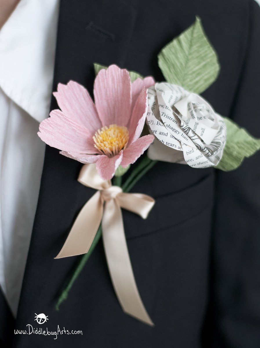 Paper garden cosmos and book page rose boutonniere or corsage in