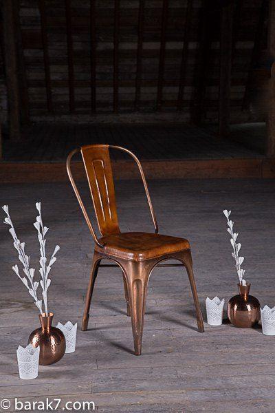 Chaise industrielle en cuir et cuivre Envie de meubles Pinterest