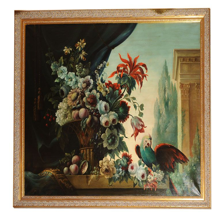 Still Life Oil Painting with Parrot   1stdibs.com