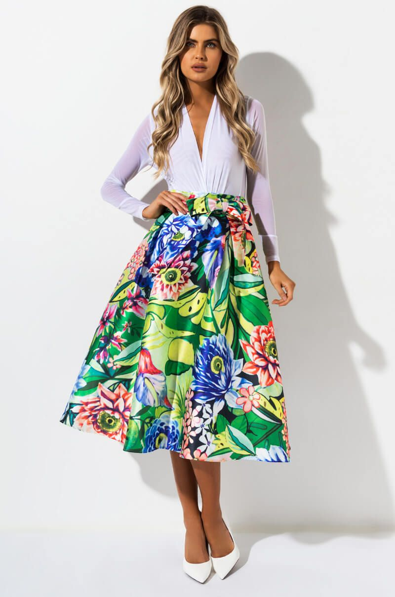 07d199eb6a1 POWER OF BLOOMING MIDI SKIRT in 2019
